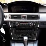 Carbon Fiber Car Central Control CD Panel Decorative Sticker for BMW E90 / E92 2005-2012, High Edition with Hole