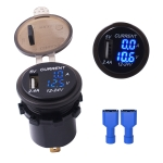 Universal Car Single Port USB Charger Power Outlet Adapter 2.4A 5V IP66 with LED Digital Voltmeter + Ammeter(Blue Light)