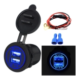 Universal Car Dual USB Charger Power Outlet Adapter 4.2A 5V IP66 with Aperture + 60cm Cable(Blue Light)