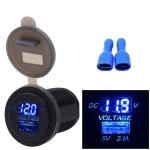 Universal Car Single Port USB Charger Power Outlet Adapter 2.1A 5V IP66 with LED Digital Voltmeter + 60cm Cable(Blue Light)