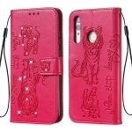 For Huawei Honor 10i / Honor 10 Lite / P Smart (2019) / P Smart+ 2019 / Enjoy 9s Diamond Encrusted Pressed Printing Cat and Tiger Pattern Horizontal Flip PU Leather Case with Holder & Card Slots & Wallet(Rose Red)