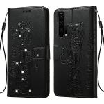 For Huawei Honor 20 Pro Diamond Encrusted Pressed Printing Cat and Tiger Pattern Horizontal Flip PU Leather Case with Holder & Card Slots & Wallet(Black)