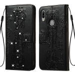 For Huawei Honor Play 8A / Honor 8A / Y6 (2019) Diamond Encrusted Pressed Printing Cat and Tiger Pattern Horizontal Flip PU Leather Case with Holder & Card Slots & Wallet(Black)