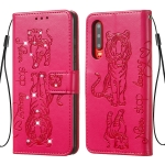 For Huawei P30 Diamond Encrusted Pressed Printing Cat and Tiger Pattern Horizontal Flip PU Leather Case with Holder & Card Slots & Wallet(Rose Red)