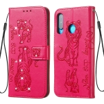 For Huawei P30 Lite Diamond Encrusted Pressed Printing Cat and Tiger Pattern Horizontal Flip PU Leather Case with Holder & Card Slots & Wallet(Rose Red)