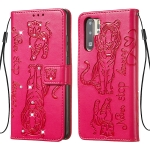For Huawei P30 Pro Diamond Encrusted Pressed Printing Cat and Tiger Pattern Horizontal Flip PU Leather Case with Holder & Card Slots & Wallet(Rose Red)