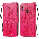 For Huawei Y7 (2019)  / Y7 Prime (2019) Diamond Encrusted Pressed Printing Cat and Tiger Pattern Horizontal Flip PU Leather Case with Holder & Card Slots & Wallet(Rose Red)