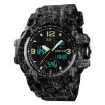 SKMEI 1155B Multifunctional Men Outdoor Sports Noctilucent Waterproof Large Dial Wrist Watch(Grey Black)