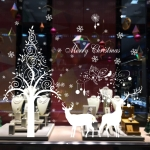Snowflake Elk Living Room Window Glass Door Removable Christmas Wall Sticker Decoretion