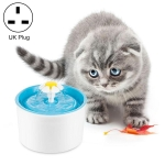 1.6L Automatic Electric Water Fountain Dog Cat Pet Drinker Bowl Drinking Fountain Dispenser, UK Plug (Blue)
