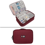 BUBM DPS-S Multi-function Headphone Charger Data Cable Digital Accessories Storage Bag, Size M: 27x20x9.5cm (Red)