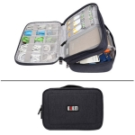 BUBM DPS-S Multi-function Headphone Charger Data Cable Digital Accessories Storage Bag, Size M: 29x22x12cm (Black)
