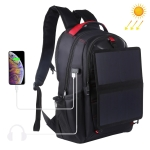HAWEEL Solar Power Outdoor Portable Canvas Dual Shoulders Laptop Backpack (Black)