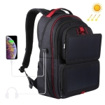 HAWEEL Solar Power Outdoor Portable Canvas Dual Shoulders Laptop Backpack(Black)