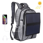 HAWEEL Solar Power Outdoor Portable Canvas Dual Shoulders Laptop Backpack (Grey)