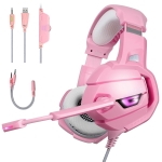 ONIKUMA K5 Deep Bass Gaming Headphone with Microphone & LED Light(Pink)