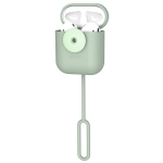 ROCK Shockproof Electroplating Silicone Wireless Earphone Charging Box Protective Case for Apple AirPods 1/2 (Green)