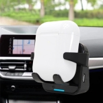 D18 QI Stickable Air Outlet Clip Dual-use Bluetooth Earphone Holder Car Wireless Charger for Apple AirPods(Black)