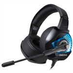 ONIKUMA K6 Over Ear Bass Stereo Surround Gaming Headphone with Microphone & Red Light(Black Blue)