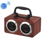 W5B Wooden Portable Dual Horn Stereo Bluetooth Speaker with Phone Holder, Support TF Card / AUX (Red)