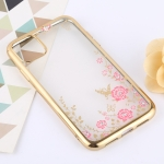 Flowers Patterns Electroplating Soft TPU Protective Cover Case for iPhone XIR 2019 (Gold)