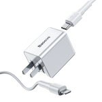 Baseus Traveler Series PD 18W Quick Charger Suit, CN Plug, with Type-C to IP Cable, Length: 1m (White)