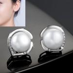 Women Fashion S925 Sterling Silver Freshwater Pearls Earring (White)