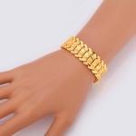Fashion Brass Gold-plated Heart Bracelet Jewelry, Size: L(Gold)