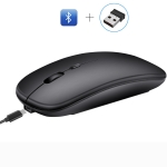 HXSJ M90 2.4GHz Ultrathin Mute Rechargeable Dual Mode Wireless Bluetooth Notebook PC Mouse (Black)