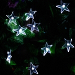 Star Shape 20 LEDs Outdoor Garden Christmas Festival Decoration Solar Lamp String (White)
