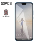 50 PCS Non-Full Matte Frosted Tempered Glass Film for Huawei P20 Lite, No Retail Package
