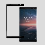 For Nokia 8 Sirocco 0.26mm 9H 3D Anti Blu-ray Explosion-proof Full Screen Curved Heat Bending Tempered Glass Screen Film (Black)