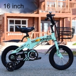 ZHILTONG 5166 16 inch Foldable Portable Children Pedal Mountain Bike with Front Basket & Bell, Recommended Height: 110-125cm(Green)