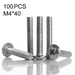 100 PCS 201 Stainless Steel Cross Large Flat Head Screw, M4x40