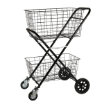 Portable Foldable Luggage Truck Hand Cart Double Basket Shopping Supermarket Trolley Case