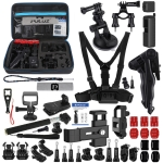 PULUZ 43 in 1 Accessories Total Ultimate Combo Kits for DJI Osmo Pocket with EVA Case (Chest Strap + Wrist Strap + Suction Cup Mount + 3-Way Pivot Arms + J-Hook Buckle + Grip Tripod Mount + Surface Mounts + Bracket Frame + Screen Film + Silicone Case + Tripod Adapter + Storage Bag + Rec-mounts + Handlebar Mount + Wrench)