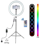 PULUZ 12 inch RGB Dimmable LED Ring Vlogging Selfie Photography Video Lights with Cold Shoe Tripod Ball Head & Phone Clamp(UK Plug)