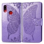 For Galaxy A10s Butterfly Love Flowers Embossing Horizontal Flip Leather Case with Holder & Card Slots & Wallet & Lanyard(Light Purple)