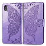 For Motorola Moto E6  Butterfly Love Flowers Embossing Horizontal Flip Leather Case , with Holder & Card Slots & Wallet & Lanyard(Light Purple)