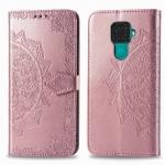 For Huawei Mate 30 Lite / Nova 5i Pro Halfway Mandala Embossing Pattern Horizontal Flip Leather Case with Holder & Card Slots & Wallet & Photo Frame & Lanyard(Rose Gold)