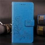 For LG W30  Lucky Clover Pressed Flowers Pattern Leather Case  , with Holder & Card Slots & Wallet & Hand Strap(Blue)