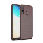 For Galaxy A30s Carbon Fiber Texture Shockproof TPU Case(Brown)
