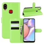 For Galaxy A10s Litchi Texture Horizontal Flip Leather Case with Wallet & Holder & Card Slots(Green)