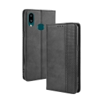For Galaxy A10s Magnetic Buckle Retro Crazy Horse Texture Horizontal Flip Leather Case with Holder & Card Slots & Photo Frame(Black)