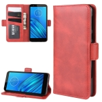 For Motorola Moto E6 Wallet Stand Leather Cell Phone Case with Wallet & Holder & Card Slots(Red)