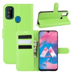 For Galaxy M30s Wallet Stand Leather Cell Phone Case with Wallet & Holder & Card Slots(Green)