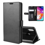 For Galaxy A20s R64 Texture Single Fold Horizontal Flip Leather Case with Holder & Card Slots & Wallet(Black)