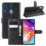 For Galaxy A20s Litchi Texture Horizontal Flip Leather Case with Wallet & Holder & Card Slots(Black)