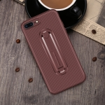 For  iPhone XS Carbon Fiber Stealth Support TPU Mobile Shell(Brown)