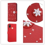 For  Xiaomi Redmi Note 6 Pro Pressed Printing Sticking Drill Pattern Horizontal Flip PU Leather Case with Holder & Card Slots & Wallet & & Lanyard(Red)